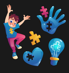 Boy and symbols with puzzle concept autism vector