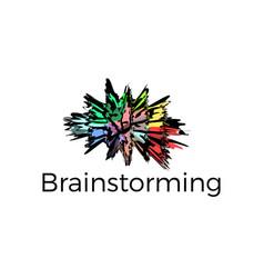 brain explosion logo template brainstorming icon vector image