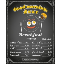 Breakfast menu on chalkboard vector