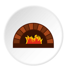 Brick pizza oven with fire icon circle vector