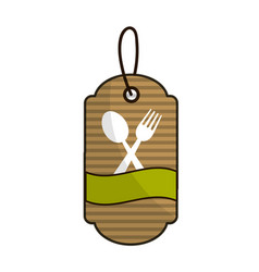 Brown label with spoon fork and ribbon inside vector
