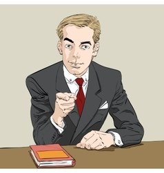 Businessman finger pointing at you vector