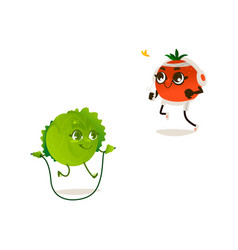 cabbage orange sport characters set vector image