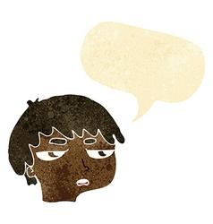 Cartoon annoyed boy with speech bubble vector