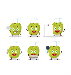 Cartoon character amla with various chef emoticons vector