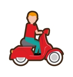 Cartoon delivery boy riding scooter vector