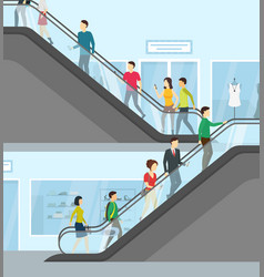 cartoon supermarket people moving up card poster vector image