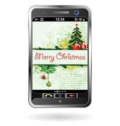 christmas smartphone vector image