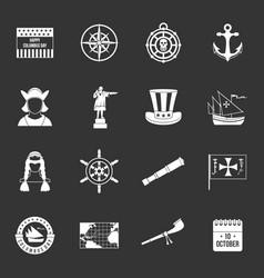 Columbus day icons set grey vector