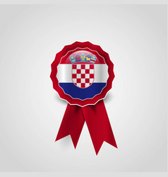 croatia flag badge design vector image