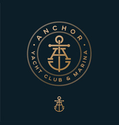 Crossed letter a monogram anchor yacht club logo vector
