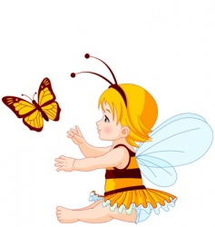cute baby fairy and butterfly vector image