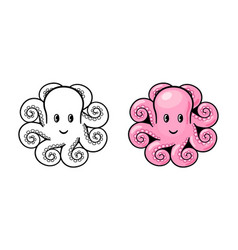 Cute cartoon smiling octopus black and white and vector