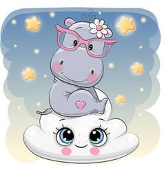Cute hippo a on cloud vector