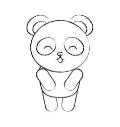 cute sketch draw panda bear vector image