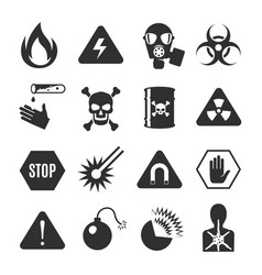 danger black icon set beware and warning vector image