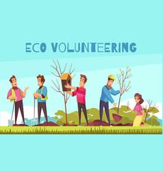 Eco volunteering cartoon composition vector