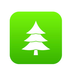 fir tree icon digital green vector image