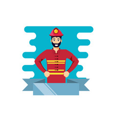Firefighter professional with ribbon vector