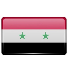 Flags Syria in the form of a magnet on vector