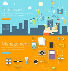 Flat design concept for teamwork and management vector image vector image