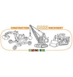 Funny constuction cars set coloring book vector