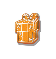 Gingerbread gift cookie isolated vector