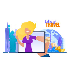 girl from screen tablet invites lets go travel vector image