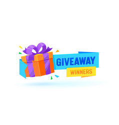 Giveaway winners gift box banner with vector