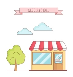 grocery store with tree vector image