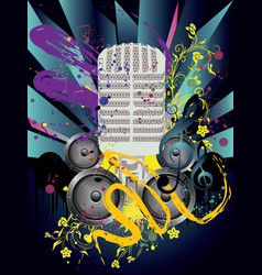 grunge speaker and microphone vector image