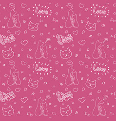 hand drawn seamless pattern with cats vector image