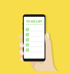 Hand holding smartphone with to do list vector