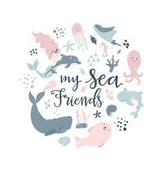 handdrawn conceptual sea animals vector image