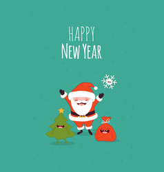Happy new year card santa s greetings vector