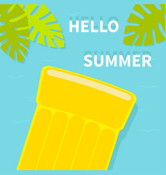 hello summer greeting card floating yellow air vector image