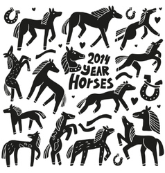 Horses - doodles set vector