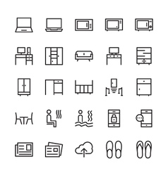 Hotel Outline Icons 7 vector