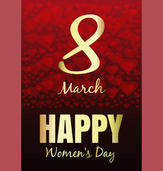 international womens day march 8 greeting card vector image