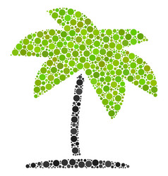 island tropic palm collage of dots vector image