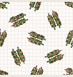 Kawaii two yakitori japanese meal seamless vector
