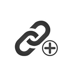 link icon with plus or cross sign add new vector image