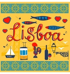 Lisbon related typical icons collection vector
