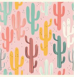 Long multicolored cacti vector