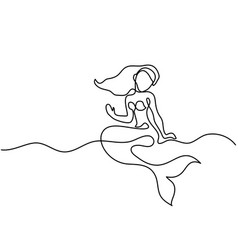 Mermaid sitting and dreaming on the beach vector