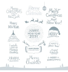 Merry Christmas Happy New Year 2017 Typography vector