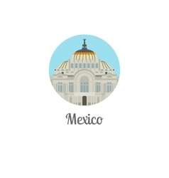 Mexico palace landmark isolated round icon vector image