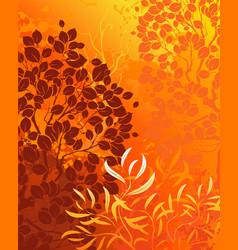 Orange background with bright autumn aspens and de vector