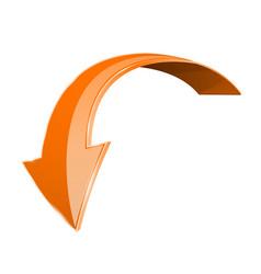 Orange down arrow shiny 3d sign vector