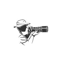 photographer silhouette logo vector image